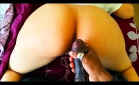 Huge black cock breaks into big-ass babe's hole from behind