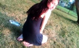 Mesmerizing Brunette Teen Showing Off Her Soles Outside