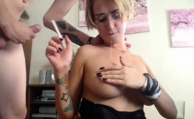 Stacked Blonde Milf Shows Off Her Oral Talents On The Webcam