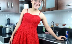 nerdy-asian-tranny-in-a-sexy-red-dress-flashes-her-nice-cock