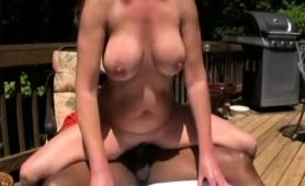 Busty Brunette Wife Gets Fucked Deep By A Black Bull Outside