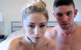 Pretty Blonde Camgirl Takes A Big Cock In Her Shaved Pussy