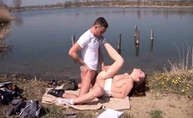 Dazzling Young Brunette Enjoys Hardcore Sex In The Outdoors