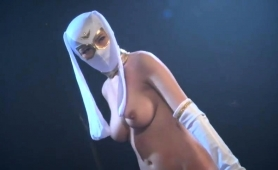 Wild Japanese Babe In A Sexy Costume Plays Out Her Fantasy